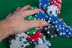 Spelaren segrar handbanken tar alla chiper Arkivbilder