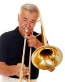 spelarepensionärtrombone Royaltyfria Bilder