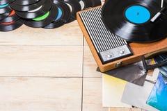 Spelarerekord och vinyl Royaltyfri Bild