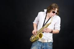 spelaresaxofon Fotografering för Bildbyråer