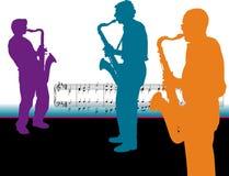 spelaresaxofonsilhouettes Fotografering för Bildbyråer