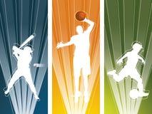 spelaresilhouettesport Royaltyfri Illustrationer