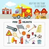 Spelconcept over brandteam Stock Afbeeldingen