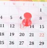 Speld en kalender. Royalty-vrije Stock Afbeeldingen