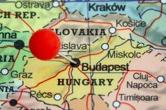 Speld op een kaart van Boedapest Royalty-vrije Stock Afbeelding