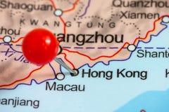 Speld op een kaart van Hong Kong Stock Foto