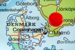 Speld op een kaart van Kopenhagen Royalty-vrije Stock Foto