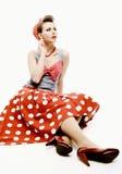 Speld-op jonge vrouw in uitstekende Amerikaanse stijl Stock Afbeelding