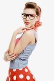 Speld-op jonge vrouw in uitstekende Amerikaanse stijl Royalty-vrije Stock Foto's