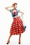 Speld-op jonge vrouw in uitstekende Amerikaanse stijl met een koppeling Stock Foto's