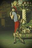 Speld op Meisje en carrousel Royalty-vrije Stock Afbeeldingen