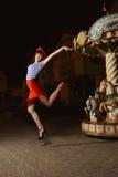 Speld op Meisje en carrousel Royalty-vrije Stock Foto's