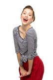 Speld-op meisje het glimlachen Stock Foto