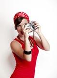 Speld-op meisje met een camera Stock Foto