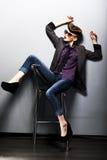 Speld-op meisje in sungglasses. Amerikaanse retro stijl Royalty-vrije Stock Foto