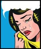 Speld van de het pop-artillustratie van de schreeuw de Droevige vrouw op stijlachtergrond Stock Afbeelding