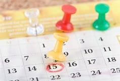 Spelden en kalender. Stock Afbeeldingen