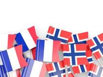 Spelden met vlaggen van Frankrijk en Noorwegen op wit wordt ge?soleerd dat royalty-vrije illustratie