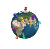 Spelden op geïsoleerde Aarde Royalty-vrije Stock Afbeeldingen