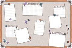 Speldraad, spelden en lege nota's Stock Foto