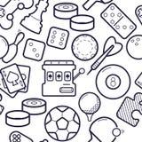 Spelen simless patroon Pingpong, golf, biljart, de activiteitenachtergrond van de pijltjesvrije tijd Het gokken, de achtergrond v vector illustratie