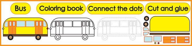 Spelen voor kinderen 3 in 1 Kleurend boek, verbind de punten, snijden vector illustratie