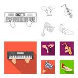 Spelend op een elektrisch muzikaal instrument, manipulatie met schaakstukken en ander Webpictogram in overzicht, vlakke stijl vector illustratie