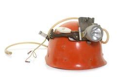 Speleologist helmet in studio stock photography