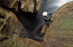 Speleologist Underground Work Stock Images