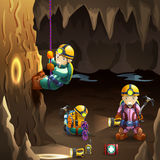 Speleologists in cave 3d background poster Stock Images