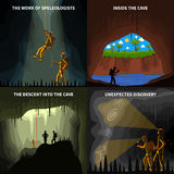 Speleologists 4 Flat Icons Square Banner Stock Image