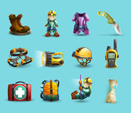 Speleology 3d icons set. Digital cave exploration surveying with speleologist equipment and protective wear 3d icons set abstract vector   illustration Stock Photos