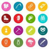 Speleology equipment icons set colorful circles vector Stock Images