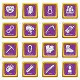Speleology equipment icons set purple square vector Stock Image