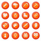 Speleology equipment icons set red vector Royalty Free Stock Photography