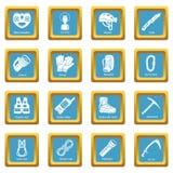 Speleology equipment icons set sapphirine square vector Stock Photography