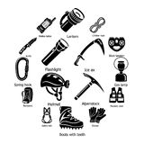 Speleology equipment icons set, simple style Royalty Free Stock Photography