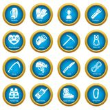 Speleology equipment icons set, simple style Stock Images