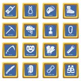 Speleology equipment icons set blue square vector Royalty Free Stock Images