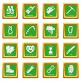 Speleology equipment icons set green square vector Royalty Free Stock Image