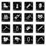 Speleology equipment icons set grunge vector Stock Image