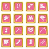 Speleology equipment icons set pink square vector Stock Images