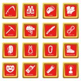 Speleology equipment icons set red square vector Royalty Free Stock Images