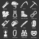 Speleology equipment icons set grey vector Stock Images