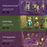 Speleology interactive 3d banners set Stock Image