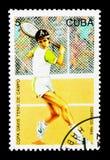 Speler in actie, Davis Cup Tennis Competition serie, circa 1993 stock foto's
