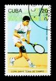 Speler in actie, Davis Cup Tennis Competition serie, circa 1993 royalty-vrije stock afbeeldingen