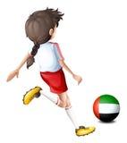 Speler die bal met vlag van de V.A.E gebruiken stock illustratie
