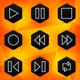 Speler. Hexagonale die pictogrammen op abstracte oranje bac worden geplaatst Royalty-vrije Stock Foto