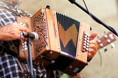 Speler van de concertina de populaire harmonika in de straat stock foto's
